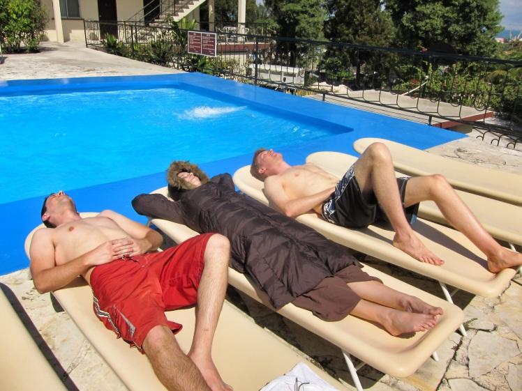 Sunbathing by the pool