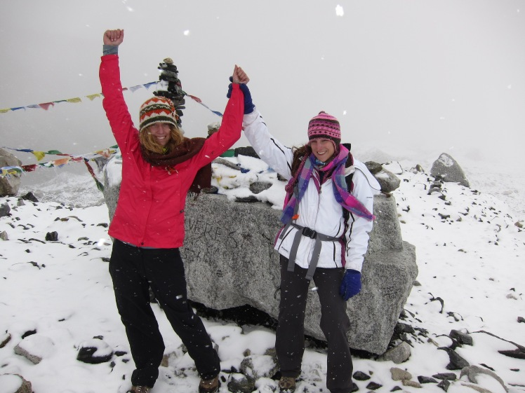 "My best Rocky pose saying ""We made it!"" (EBC, Sept 25, 2011)"